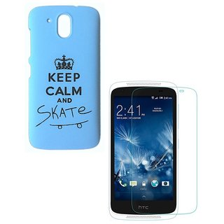 YGS Printed Matte Back Cover Case For HTC Desire 526 -Blue With Tempered Glass