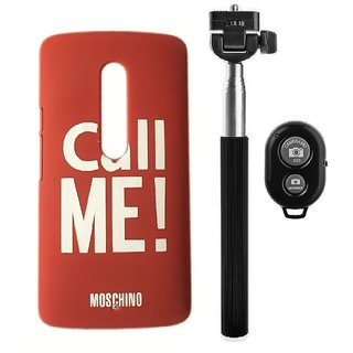 YGS Printed Matte Back Cover Case For Motorola Moto G3 -Red With Selfie Stick and  Bluetooth Remote