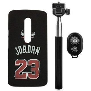 YGS Printed Matte Back Cover Case Jordan For Motorola Moto G3 -Black With Selfie Stick and  Bluetooth Remote