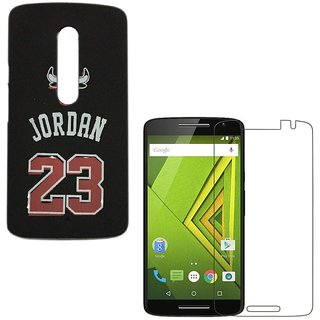 YGS Printed Matte Back Cover Case Jordan For Motorola Moto G3 -Black With Tempered Glass