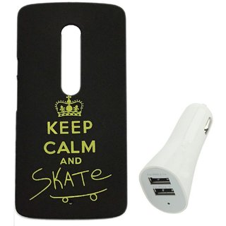 YGS Printed Matte Back Cover Case For Motorola Moto G3 -Black With White Dual Port Car Charger