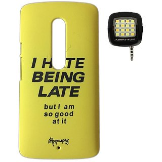 YGS Printed Matte Back Cover Case For Motorola Moto G3 -Yellow With Photo Enhancing Flash Light