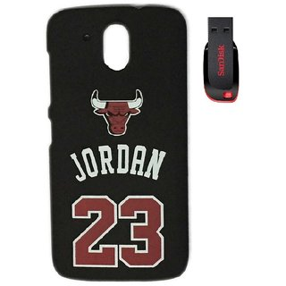 YGS Printed Matte Back Cover Case Jordan For HTC 526-Black With Sandisk Pen Drive 4GB
