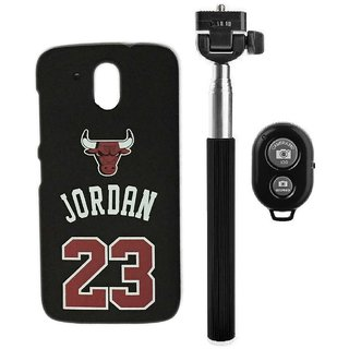 YGS Printed Matte Back Cover Case Jordan For HTC 526-Black With Selfie Stick and  Bluetooth Remote