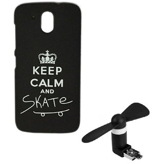YGS Printed Matte Back Cover Case For HTC Desire 526 -Black With 2in1 Micro USB Fan