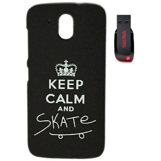 YGS Printed Matte Back Cover Case For HTC Desire 526 -Black With Sandisk Pen Drive 4GB