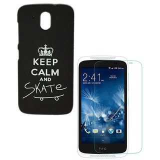 YGS Printed Matte Back Cover Case For HTC Desire 526 -Black With Tempered Glass