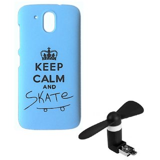 YGS Printed Matte Back Cover Case For HTC Desire 526 -Blue With 2in1 Micro USB Fan