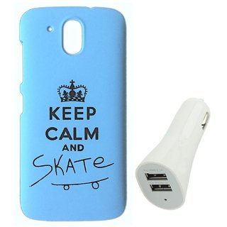 YGS Printed Matte Back Cover Case For HTC Desire 526 -Blue With White Dual Port Car Charger