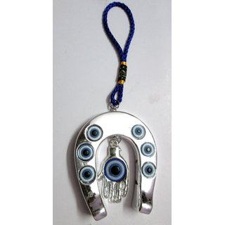 Astro Guide Hanging horse shoe Evil Eye with Hamsa Hand