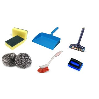 Kitchen Clean Combo Of( 2 Foam Scrubber, 2 Stainless Steel Scrubber , Dustpan,  Sink Brush , Wiper  Tile Clean Brush)