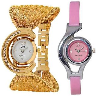Golden Watch With Pink Glory Combo Watch