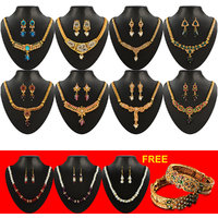 Sukkhi Gold Plated 8 Pieces of Necklace Set With Free 3 Necklace Set Mala  1 Pair of Bangle Combo