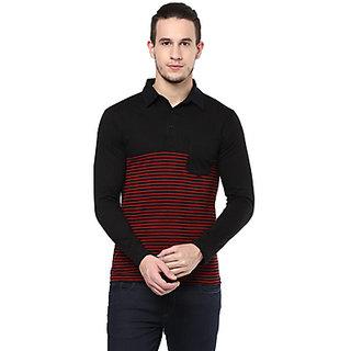 Hypernation Striped Mens Polo Neck Red Black T-Shirt