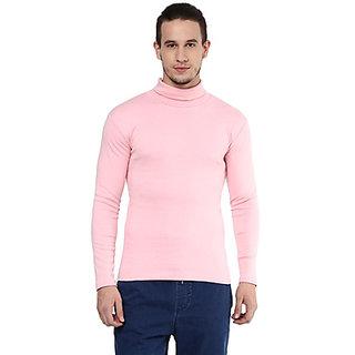Hypernation Solid Mens High Neck Pink T-Shirt