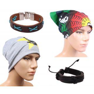 Sushito Stylish Winter Beanies Cap For Men With Stylish Headwrap  Wrist Band  JSMFHCP1522-JSMFHWB0919-JSMFHHR0197
