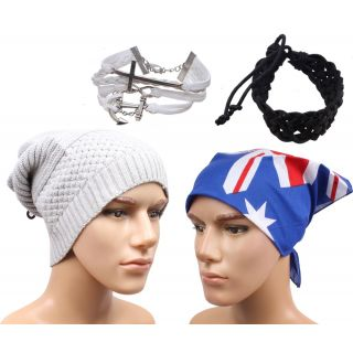 Sushito Grey Woolen Beanies Cap With Stylish Headwrap  Wrist Band JSMFHCP1473-JSMFHWB0931-JSMFHHR0180