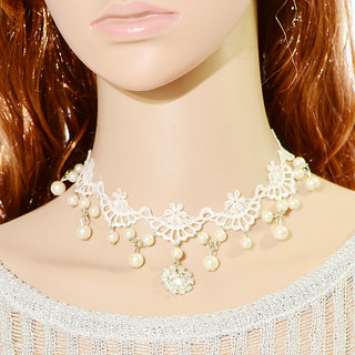 Shining Diva Non Plated White Necklace Set For Women-CFJ7388np