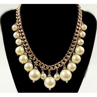 Shining Diva Non Plated White Necklace Set For Women-CFJ6080np
