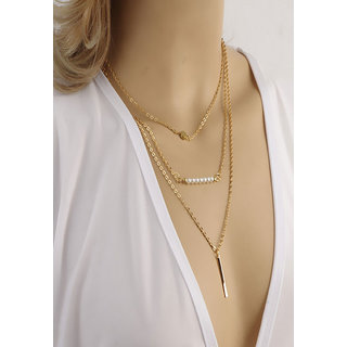 Shining Diva Non Plated White Necklace Set For Women-CFJ6894np