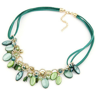 Shining Diva Non Plated Green Necklace Set For Women-CFJ7031np