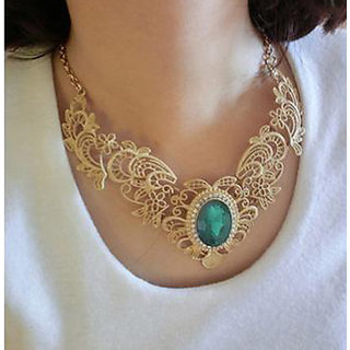 Shining Diva Non Plated Green Necklace Set For Women-CFJ7032np