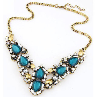 Shining Diva Non Plated Blue Necklace Set For Women-CFJ7065np