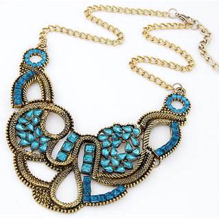 Shining Diva Non Plated Blue Necklace Set For Women-CFJ7064np