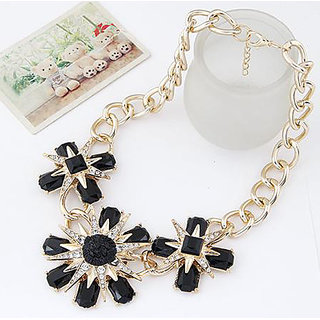 Shining Diva Non Plated Black Necklace Set For Women-CFJ7130np