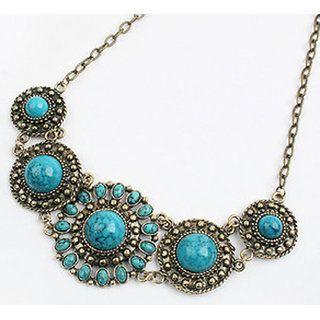 Shining Diva Non Plated Blue Necklace Set For Women-CFJ7289np