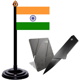 Portable Knief with Indian Table Flag