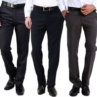 Orange Pack Of Three Stitched Multi Color Formal Trousers