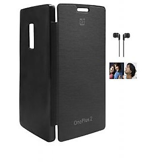 RealDealz Durable PU Leather Flip Cover For One Plus Two (Black)+3.5mm Stereo New Earphones Accessory Combo