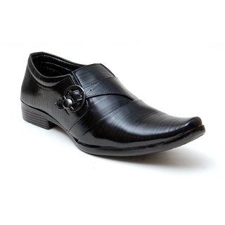 Oora Black With Fine Lining Design  Buckle Slip On Formal Shoes For Men