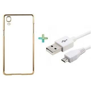 Transparent Back Cover For SAMSUNG J7 (Transparent  GOLDEN) With USB CABLE