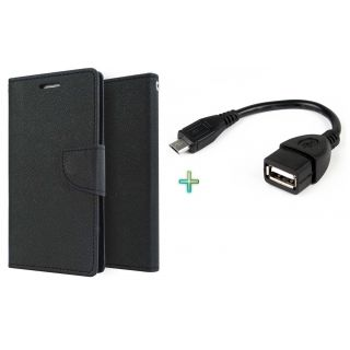 Wallet Cover for HTC 516 (BLACK)With OTG CABLE