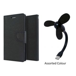 Wallet Cover for SAMSUNG S6 (BLACK)With USB FAN