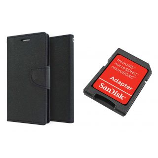 Wallet Cover for MICROMAX  Q400 (BLACK)With SD CARD ADAPTER
