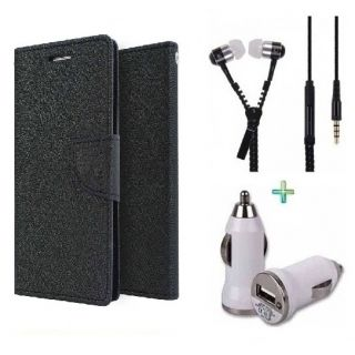 Wallet Cover for SAMSUNG A5 (BLACK)With Zipper Earphone  Car Charger