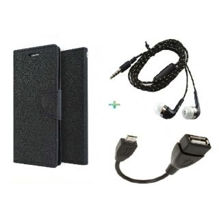 Wallet Cover for MICROMAX E313 (BLACK)With OTG CABLE  TARANG EARPHONE