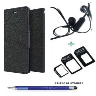 Wallet Cover for NOKIA  625 (BLACK)With  Raag Earphone,Nano Sim Adapter  Stylus Pen