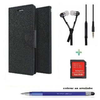 Wallet Cover for HTC M9 (BLACK)With ZIPPER Earphone,SD CARD ADAPTER  Stylus Pen