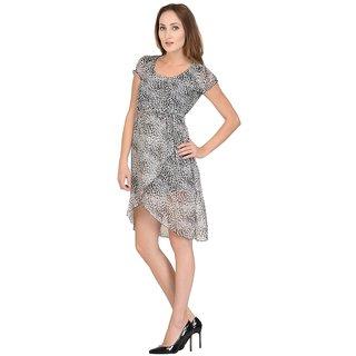 Raabta Black Taiger Print Short Casual Dress RDW102