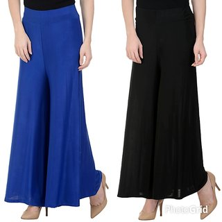 Raabta Black and Royal Blue Mal-Mal Palazzo Set of Two combo