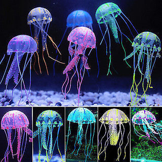 Aquarium Decoration Action Toy - Jelly Fish - Medium - Glowing Effect Cute Move  COLOURFUL AQUARIUM