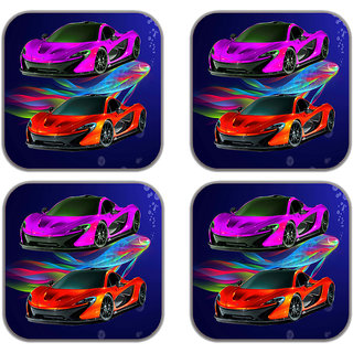 meSleep Car  Wooden Coaster-Set of 4