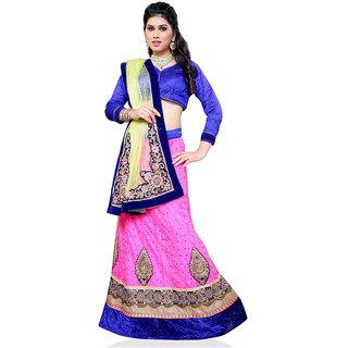 Manvaa Women Jacquard Lehenga Choli(PinkASNB4047EFree Size)