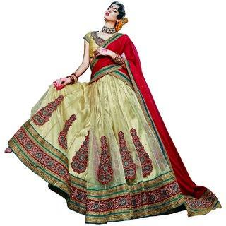Manvaa Womens White Colour Net Lehenga Choli
