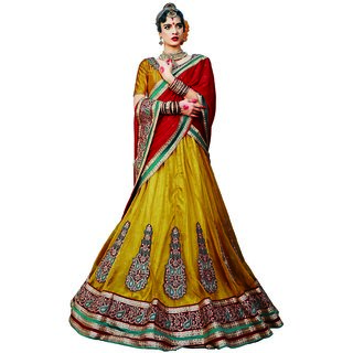 Manvaa Womens Gold Colour Net Lehenga Choli