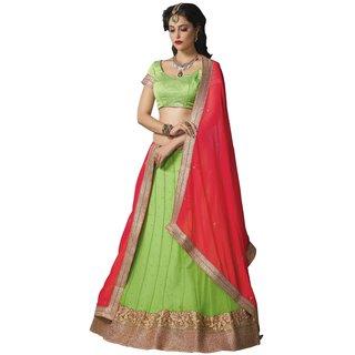 Manvaa Womens Green Colour Net Lehenga Choli